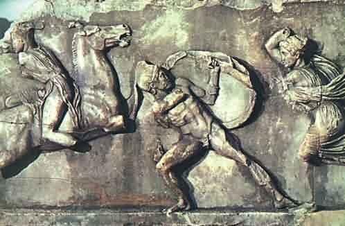 Skopás - reliéf v mausoleu znázorňující boj Řeků s Amazonkami